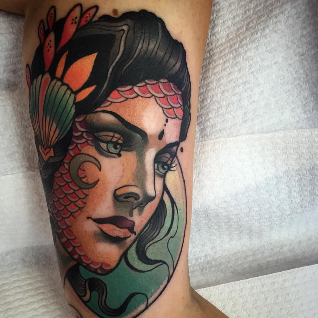 Neo Traditional Mermaid Tattoo: Sam Clark Tattoos