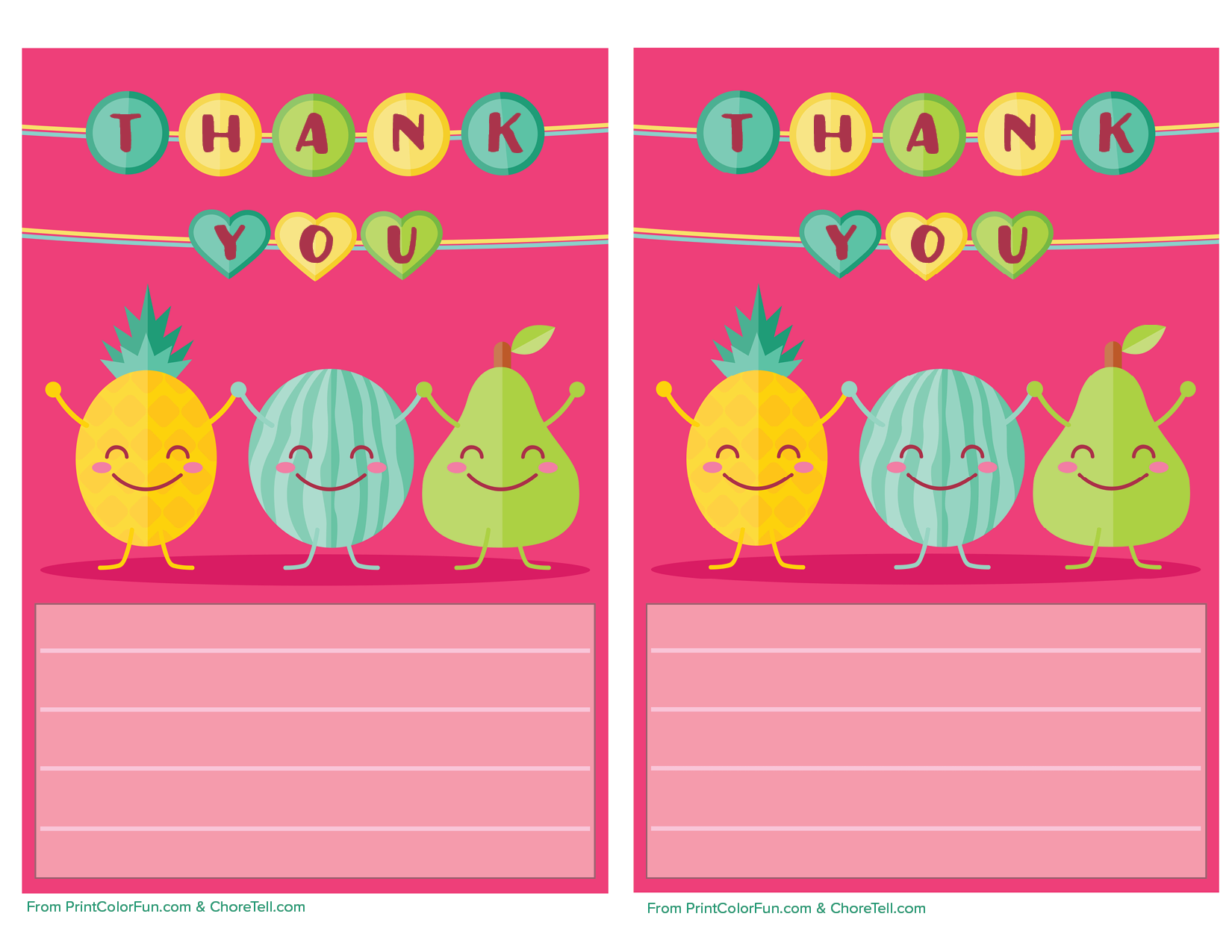 cute fruit printable thank you note paper for kids free printable