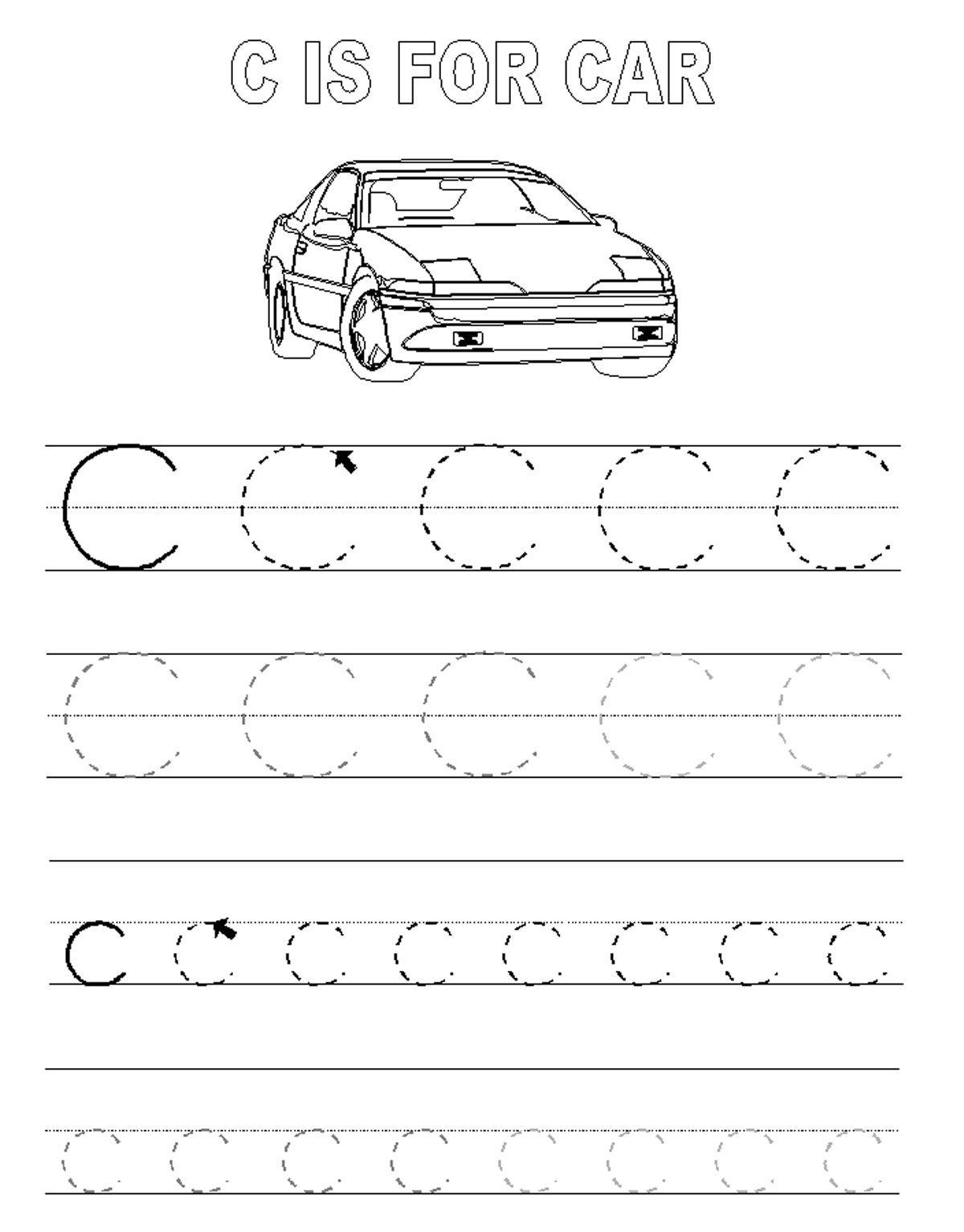 Alphabet Tracer Pages C Car