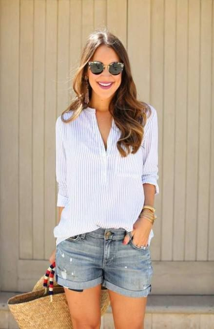35+ Trendy how to wear denim shorts casual shirts