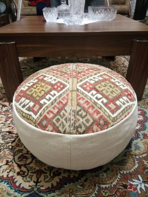 Kilim Pouf Ottoman 20x8 Inches Turkish Vintage Kilim Pouf Ottoman