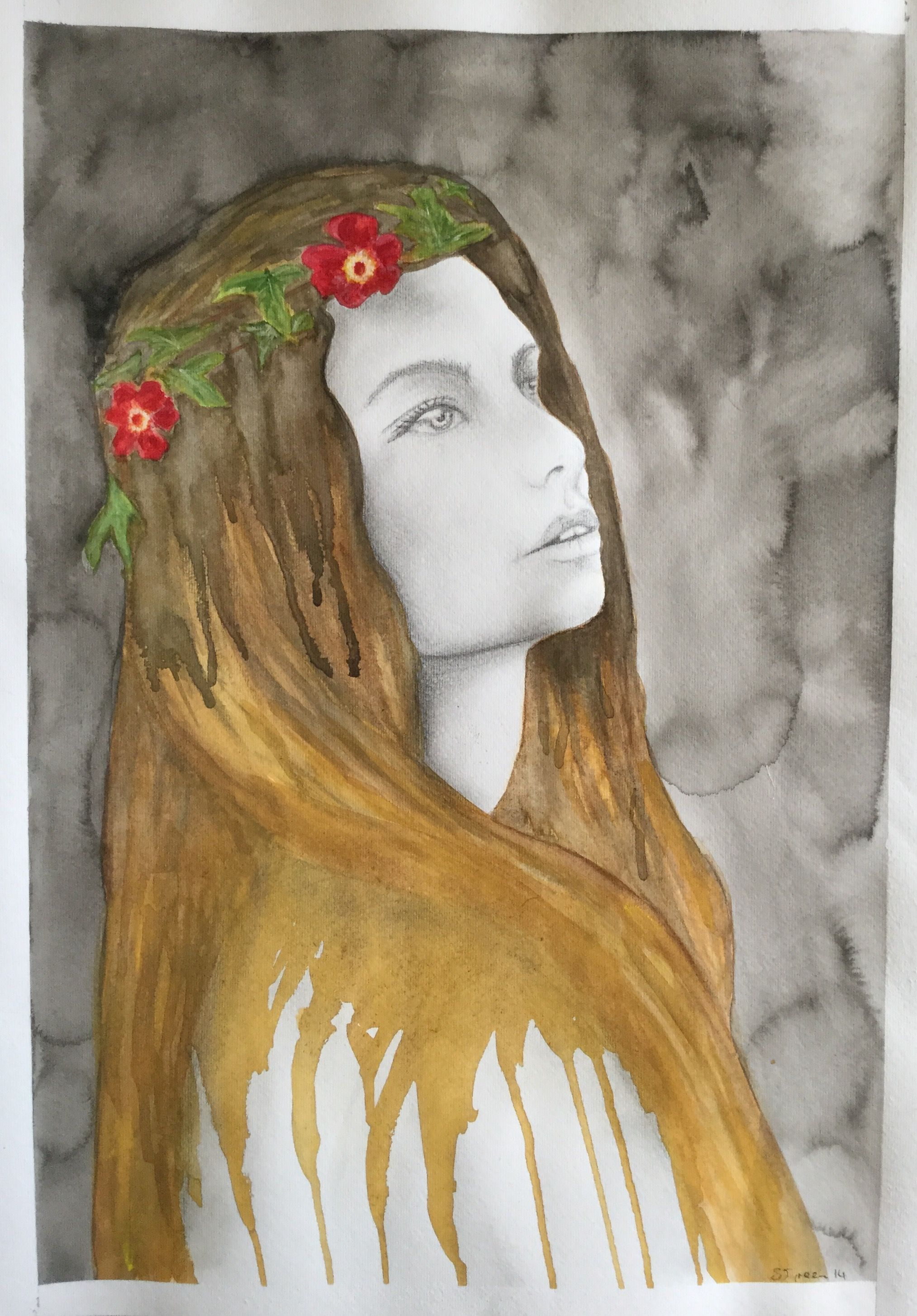 Watercolour And Pencil Sketch Rl With Flower Garland