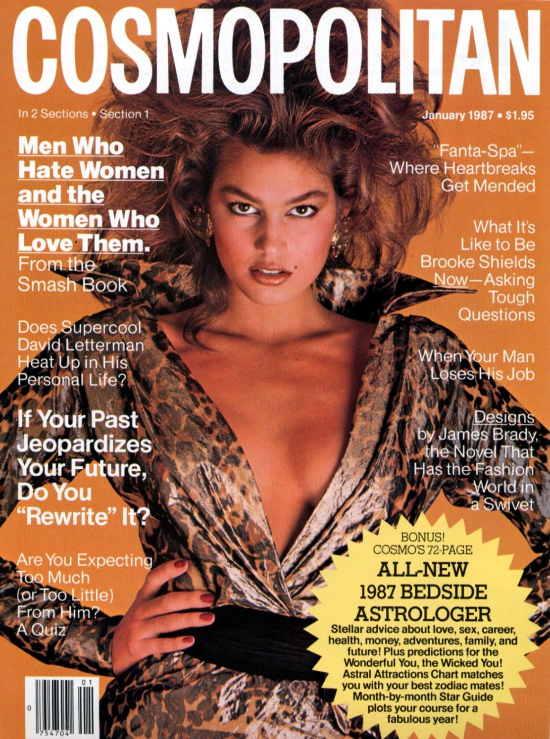CINDY CRAWFORD |  COSMOPOLITAN JANUARY,1987  COVER PHOTOGRAPHED BY FRANCESCO SCAVULLO