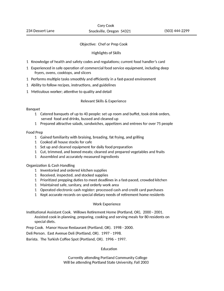 Prep Chef Sample Resume Magnificent For Kitchen Helper  Pinterest  Kitchen Helper Sample Resume And .
