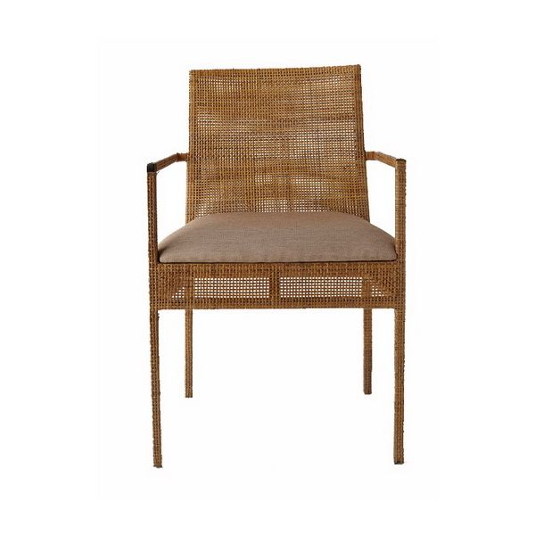 Tropix Collection upholstered armchair in natural rattan by iBalDesigns, Bali