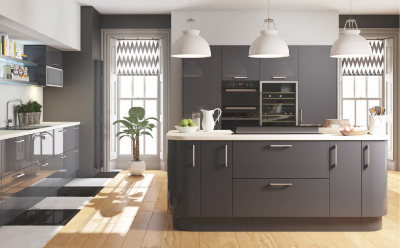Cut Price Kitchens Euro Grey Gloss Kitchen Stylish And Modern Door - Dark grey gloss kitchen