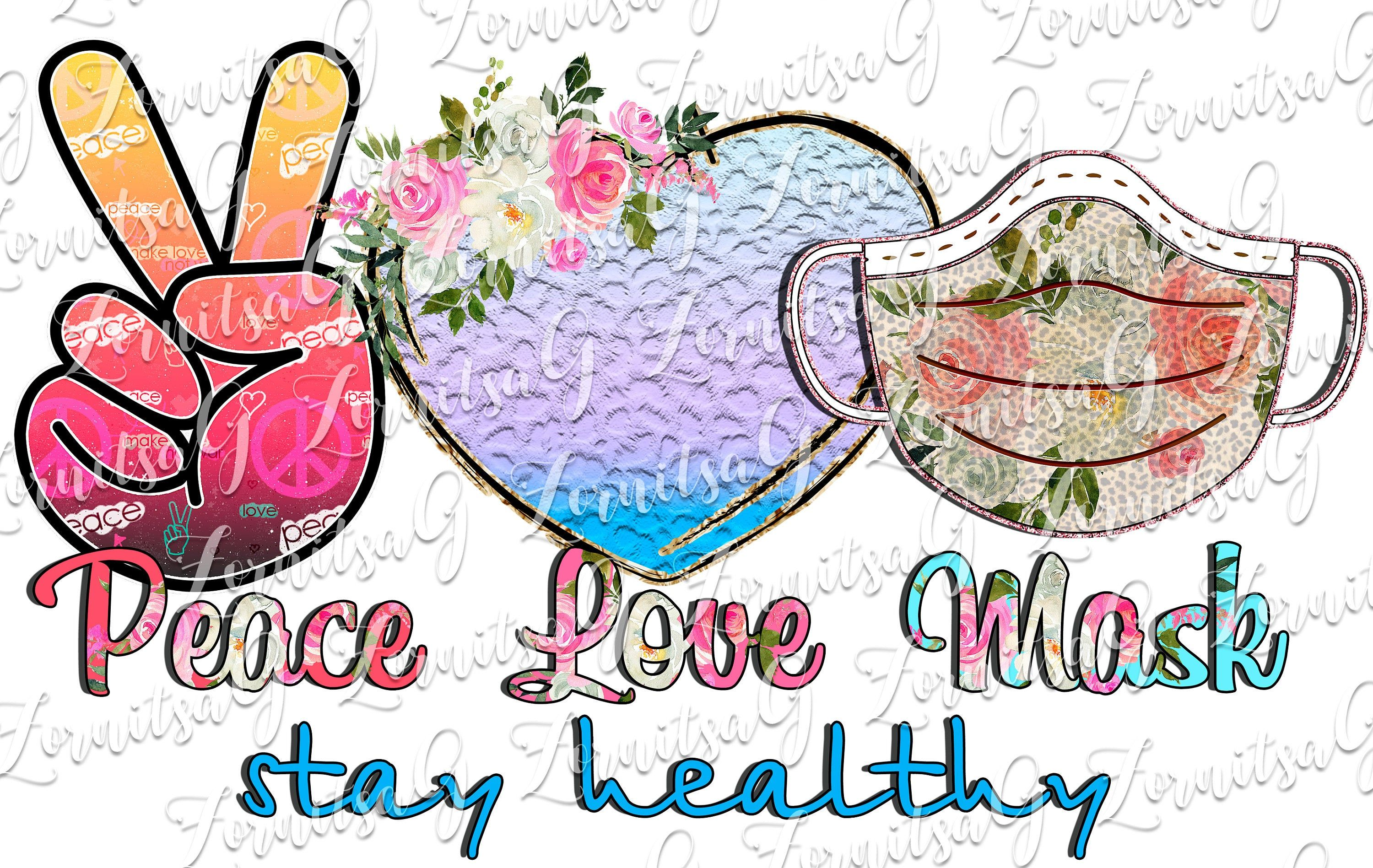 Peace Love Mask Sublimation Designs Downloads Clipart Png Etsy In 2020 Peace And Love Clip Art Mask