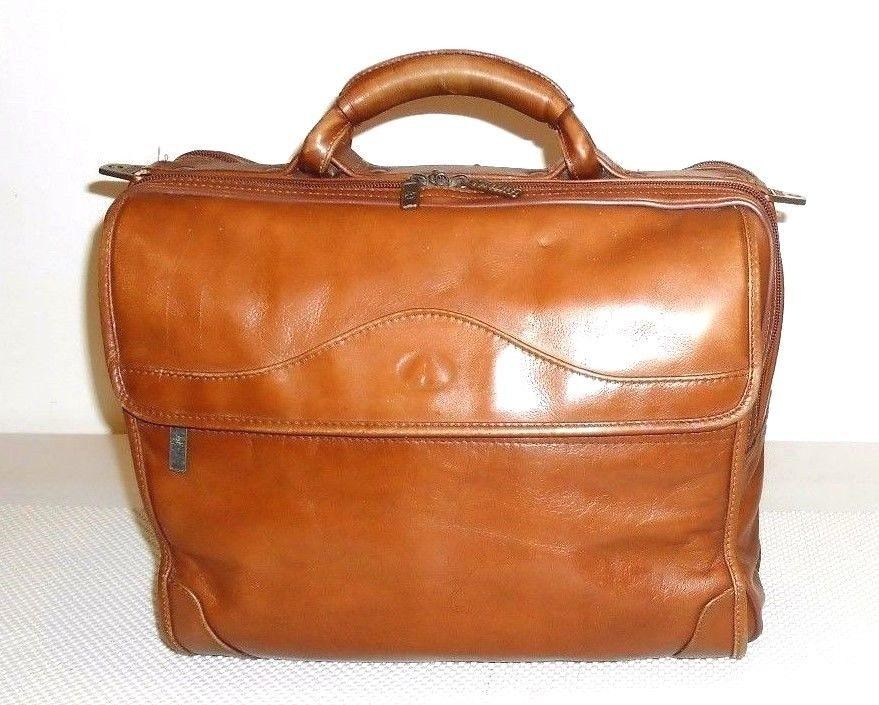 d7902e6c80d8 Details about Vintage Avenues America Brown Leather Briefcase Bag ...