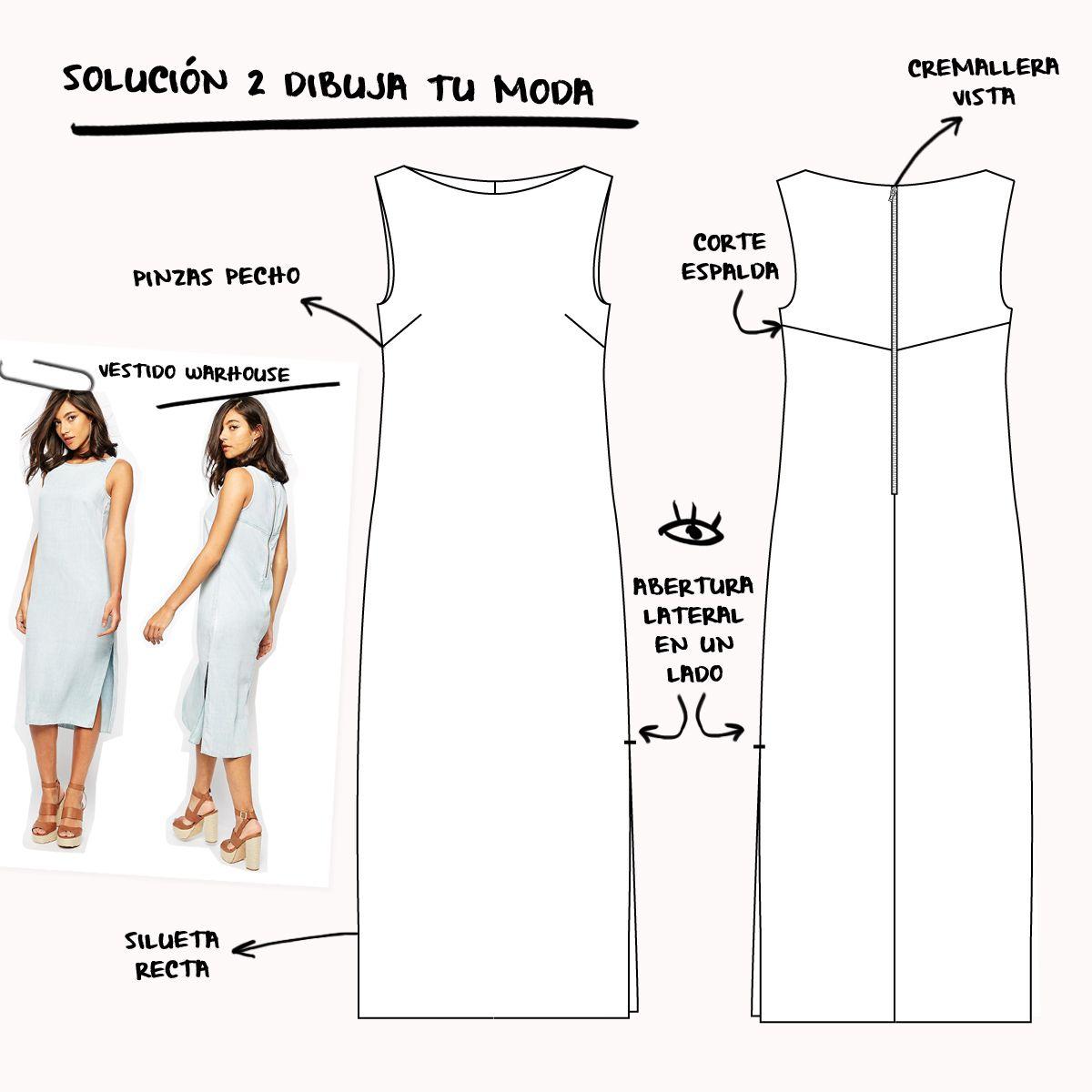 Solución de dibujo plano propuesto en la sección Dibuja tu moda en ...