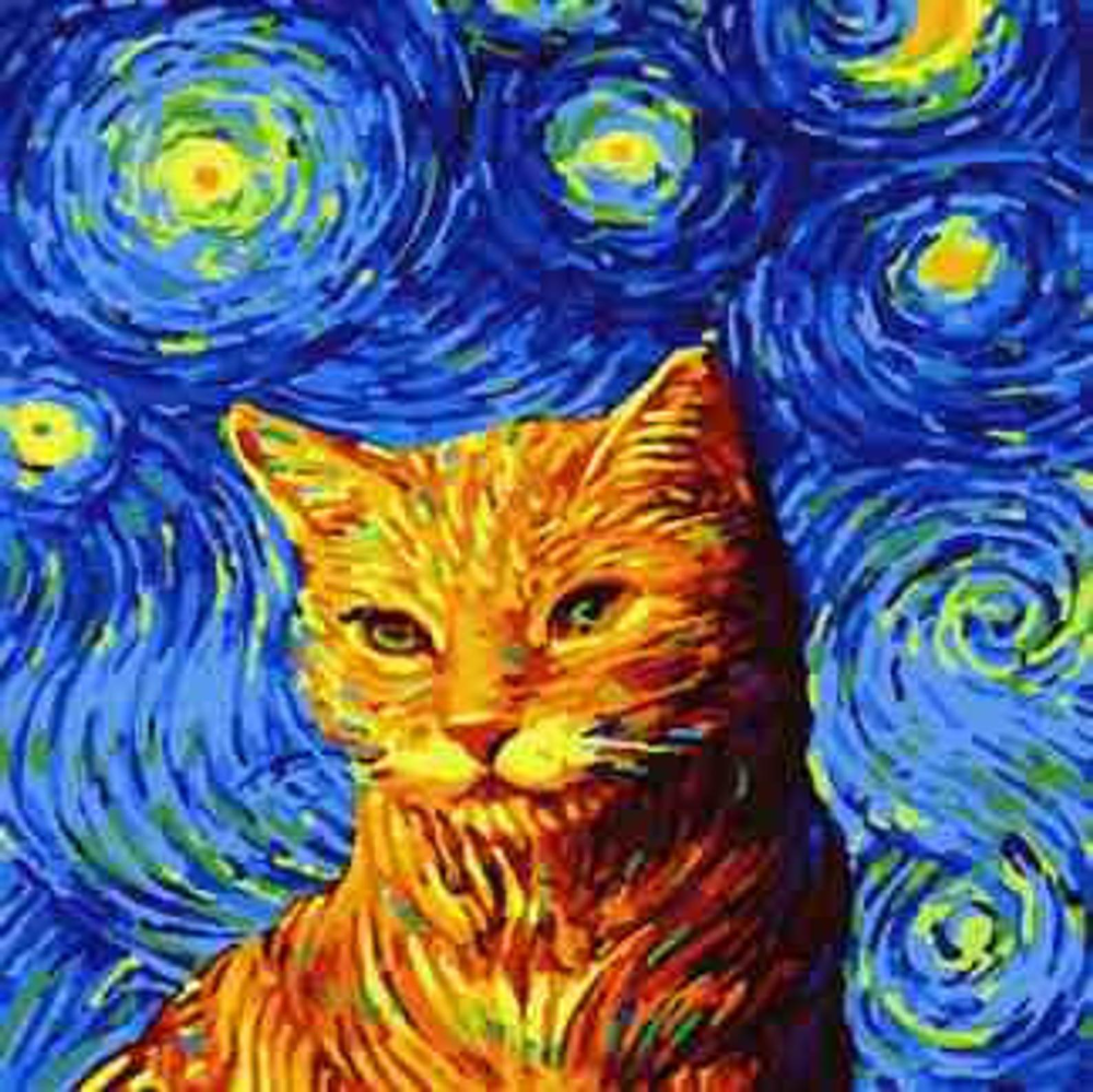 Painting By Numbers Cat On A Starry Night Etsy Cat Painting Van Gogh Art Cat Art