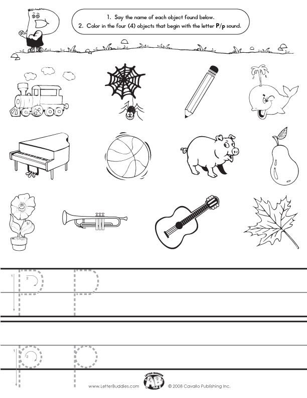 Letter P Initial Sound Worksheet – Initial Sound Worksheets for Kindergarten