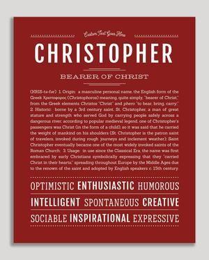 Christopher Name Art Print Classic Names Personalized Art Print Names