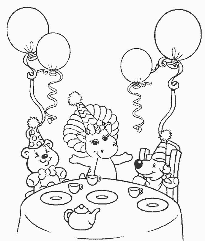 Barney Happy Birthday Coloring Pages Birthday Coloring Pages