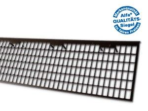 Dachrinnenabdeckung aus stabilisiertem Polypropylen zum Schutz vor Laub oder Gehölz.