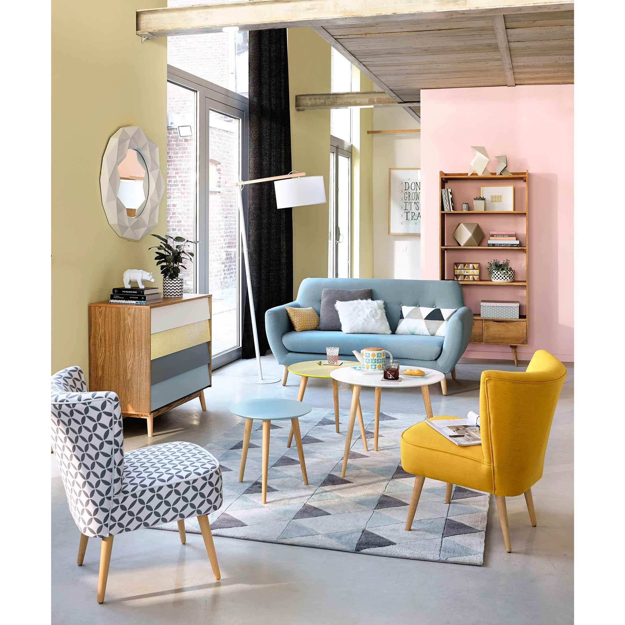 3 Tables Basses Gigognes Vintage En Bois Multicolores L 40 Cm A L 60 Cm Fjord Home Living Room Living Room Interior Interior Design Living Room