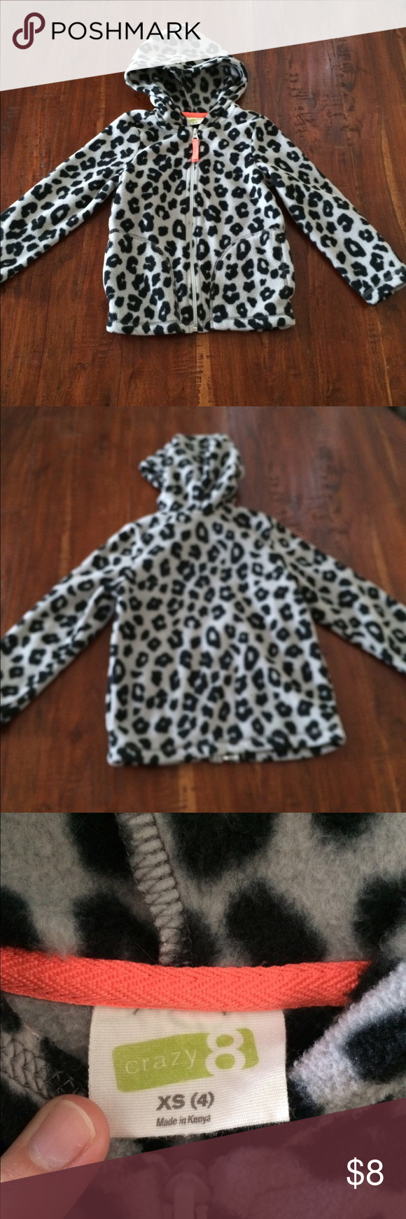 Girls crazy 8 leopard print fleece jacket sweater Girls crazy 8 leopard print fleece jacket. Size xs (4). In great condition. Smoke free home. crazy 8 Jackets & Coats