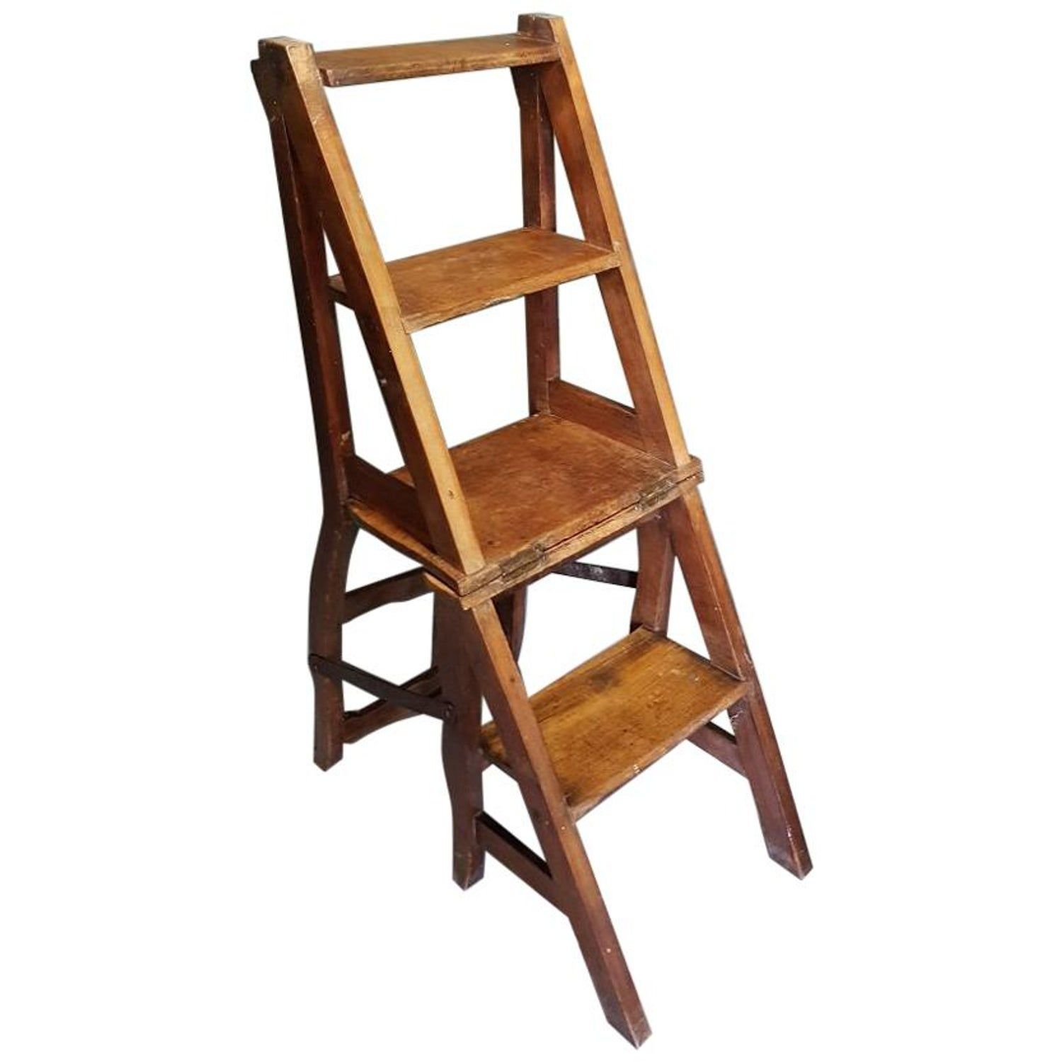 Late 19th Century French Elm Wooden Metamorphic Library Chair Step Library Chair Wooden Bookends Oak Chair