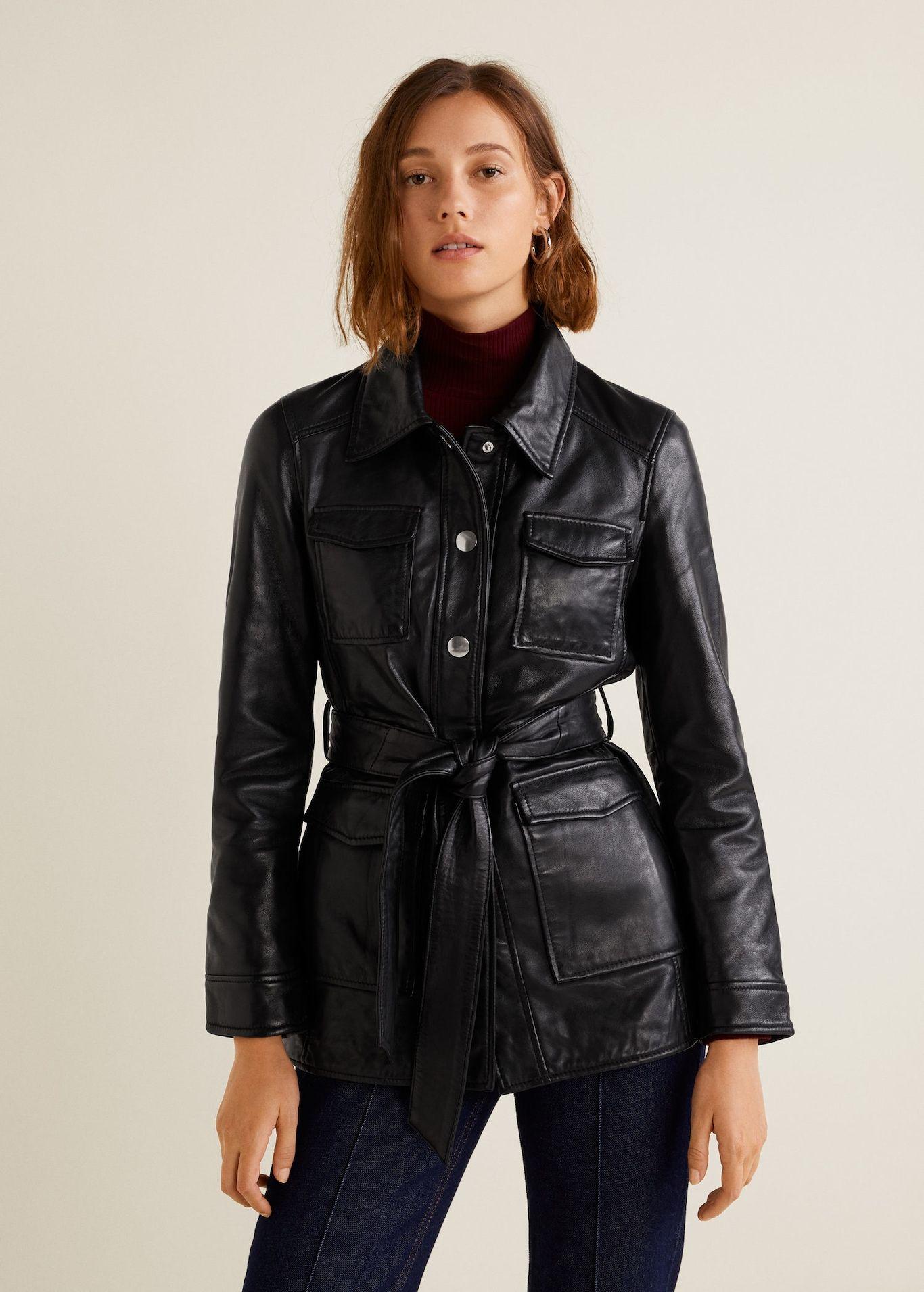 Pockets leather jacket Women Läderjacka, Damjackor