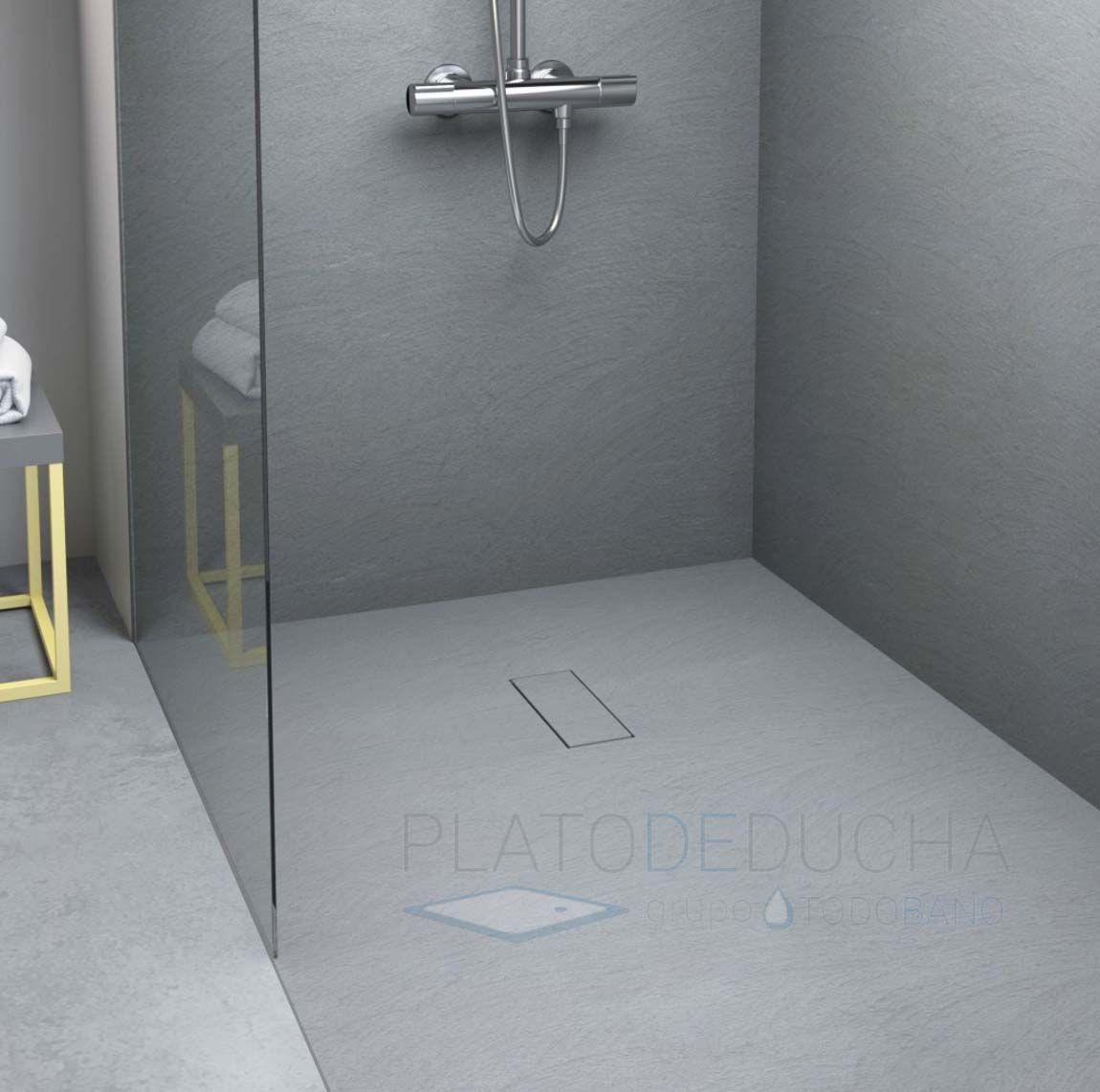 Plato De Ducha De Resina Cement Con Una Original Textura Cemento