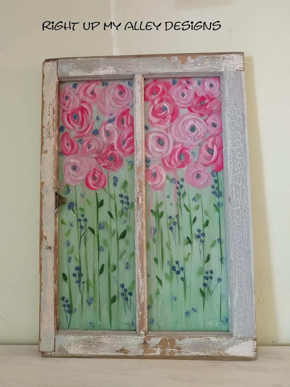 Soldpainted Windowsshabby Chic Wall Decorwindow Wall Etsy In 2020 Window Frame Art Painted Window Art Window Painting