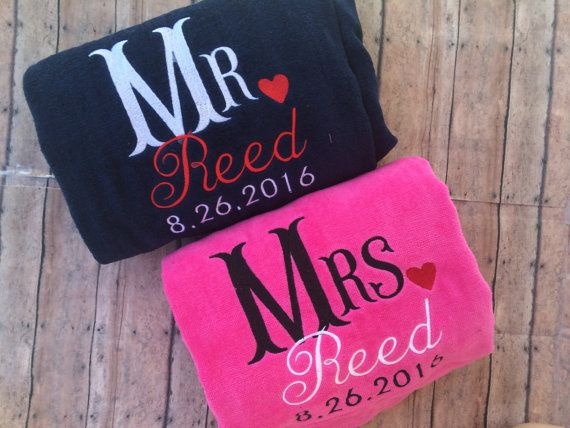Mr Mrs Beach Towel Set Mr And Mrs Wedding Gift Beach Beach Towel