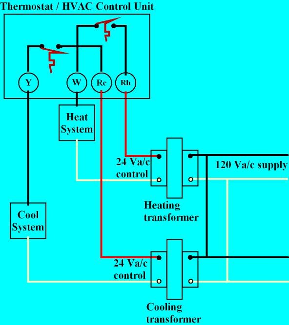 Thermostat Heat And Cool 2 Transformers Thermostat Wiring Refrigeration And Air Conditioning Electrical Circuit Diagram