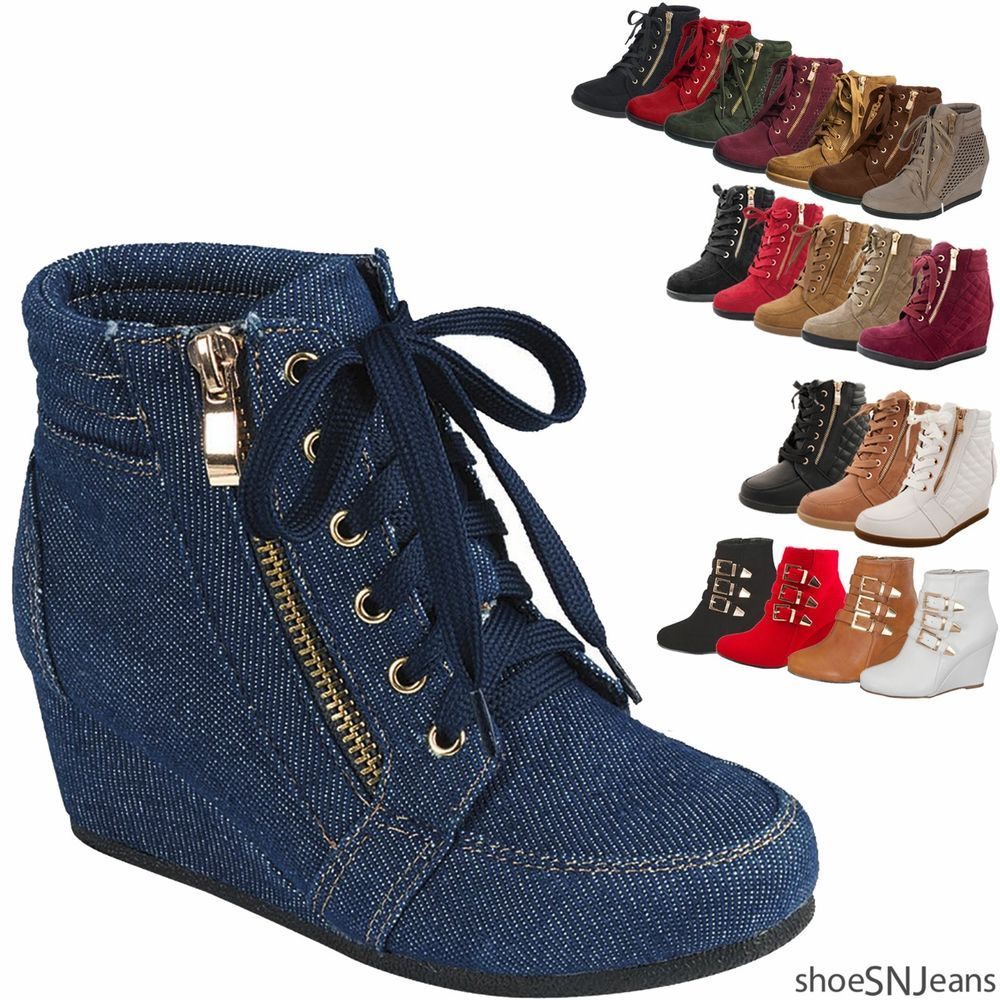 25dda7076f2f73 Women High Top Wedge Heel Sneakers Platform Lace Up Tennis Shoes Ankle  Bootie