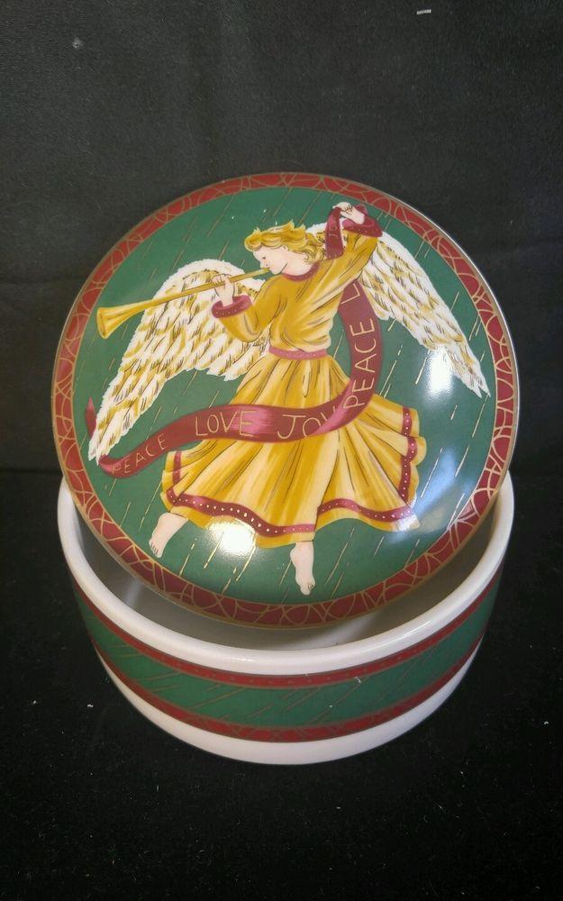 "Christmas Trinket Box Candy Dish Bowl Angel ""Wings of Joy"" Porcelain Japan 5"" d"