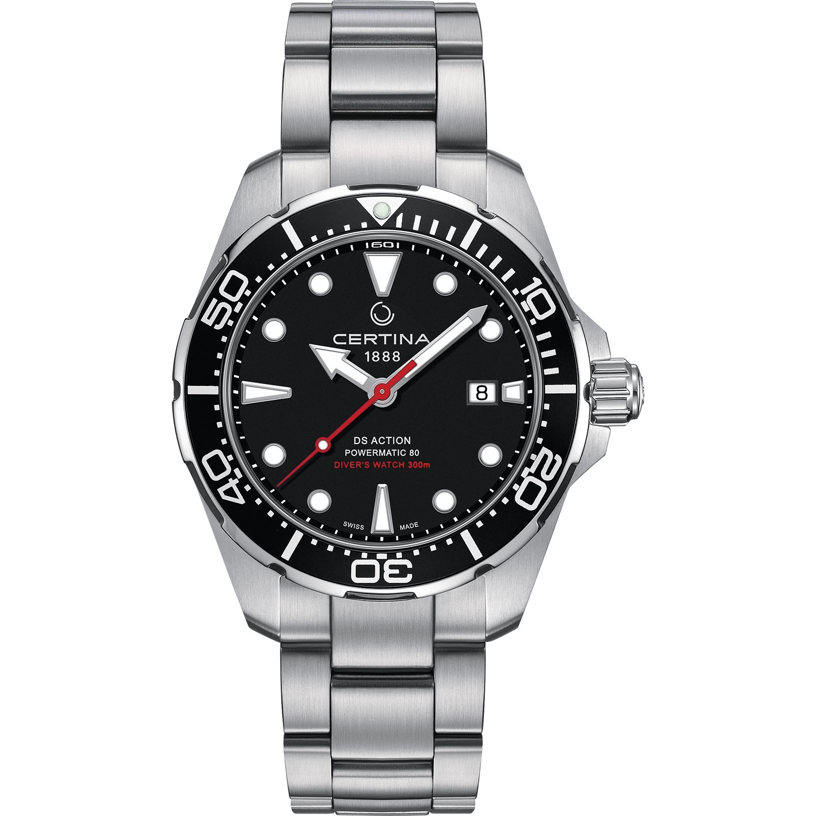 Certina Ds Action Diver Powermatic 80 C0324071105100 Is A Functional And Handsome Gents Watch Material Of The Case Is Stainless Certina Watches Watches For Men