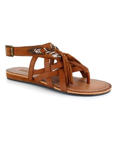 Look what I found on #zulily! Cognac Beaded Sandal #zulilyfinds