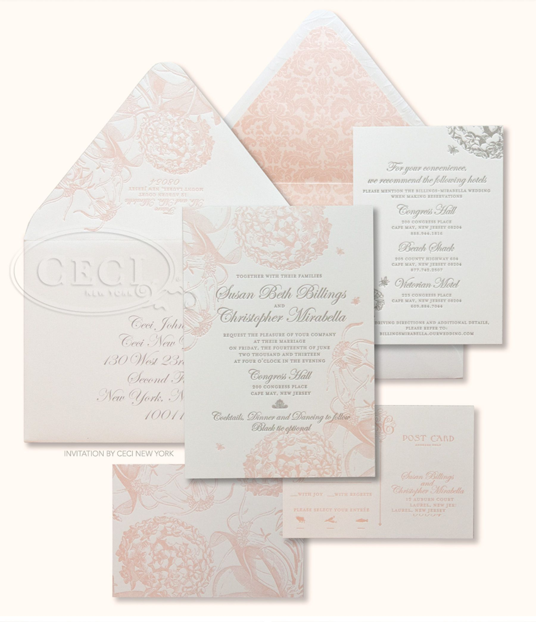 Luxury Wedding Invitations By Ceci New York: Pink_pewter_wedding_letterpress_cape_may_congress_hall_new