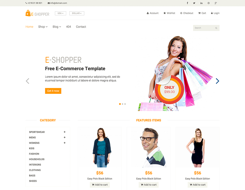 E-Shopper is the best free ecommerce html template. This 100 ...