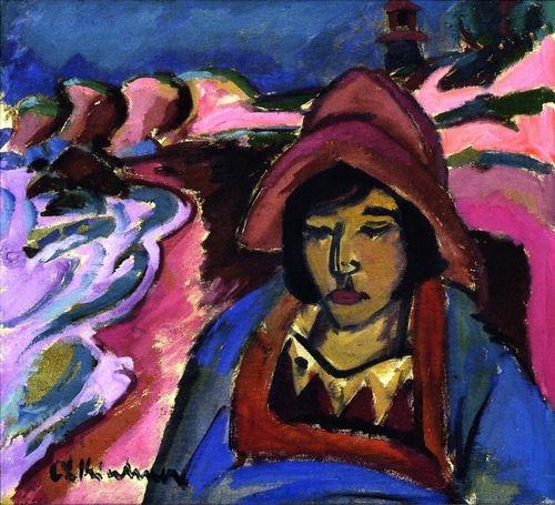 Brauner Akt am Fenster 1912 Postkarte Kirchner