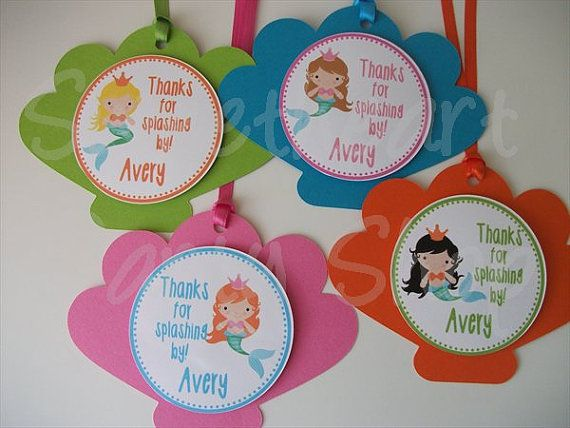 Little Mermaid Princess Under the Sea Birthday Party Favor Tags