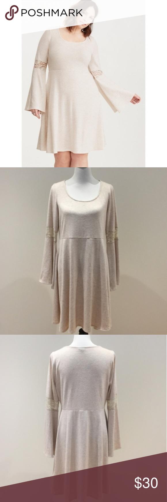 Torrid Bell Sleeve Sweater Dress Knit skater dress