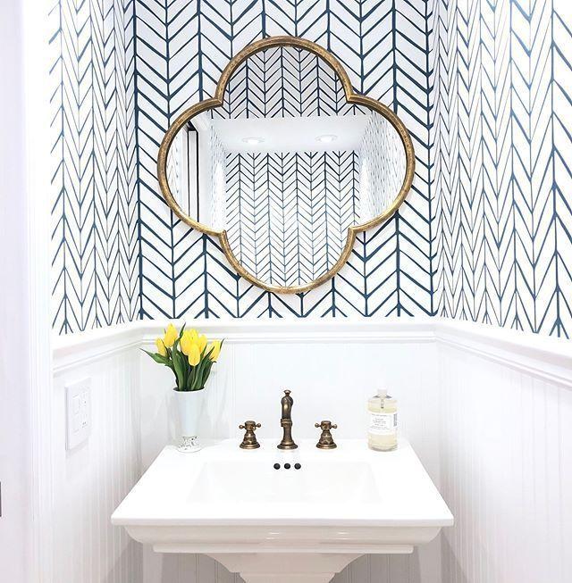 Beautiful Herringbone Bathroom Wallpaper Feather Wallpaper Bathroom Mirror Bathroom Styling