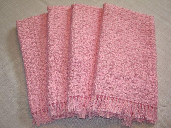 pink.  handwoven towels.  set of 4.. $26.00, via Etsy.