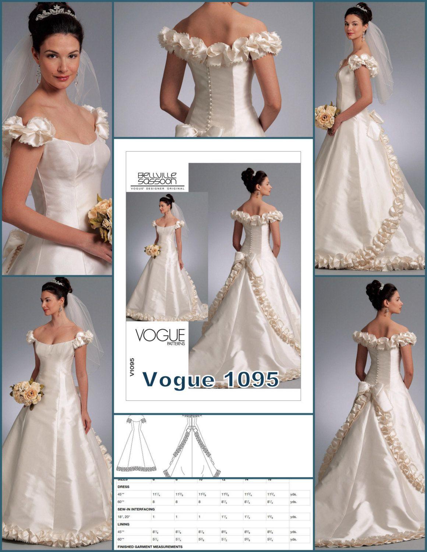 1095, Vogue, Wedding Dress Pattern, Train, Bridal Gown, Formal ...