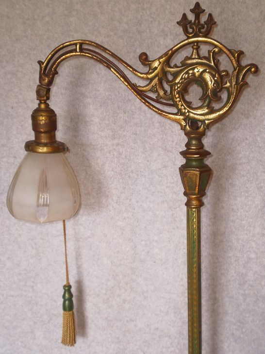 Antique Floor Lamp With Dolphin