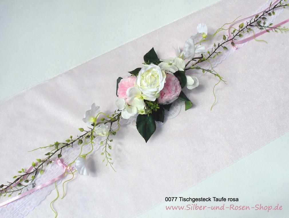 Tischgesteck rosa Taufe Mdchen  Diamantenhochzeit