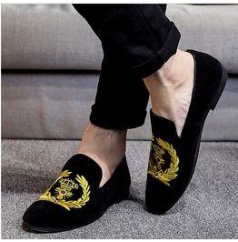 mens velvet loafers black
