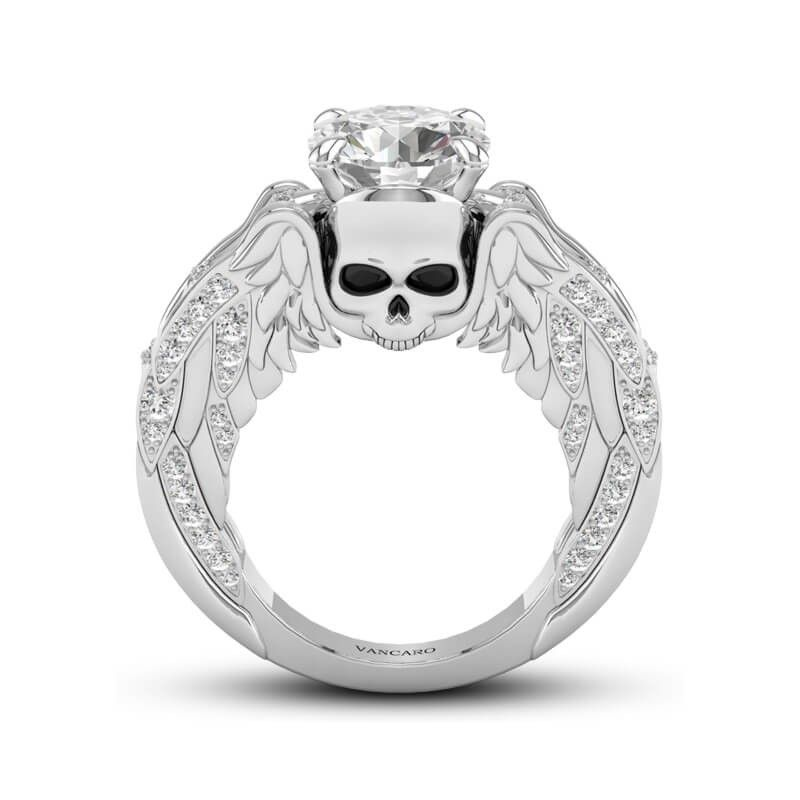 Winged Skull Engagement Ring Round Cut In Sterling Silver-VANCARO