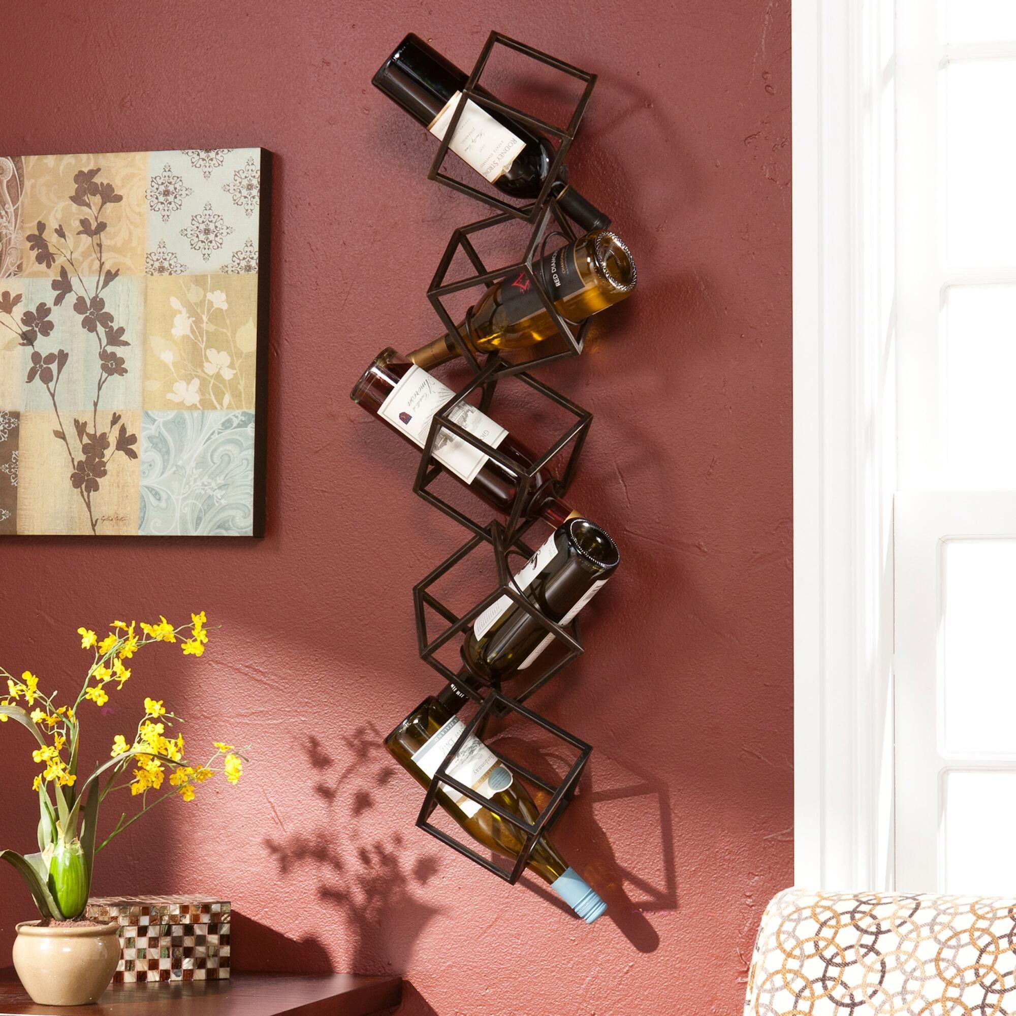 The Cube Wall Mount Wine Storage Is Both Sculptural And Functional Composed Of Five 3 D Geometric Abstract C Parede Garrafa Armazenamento De Vinho Porta Vinho
