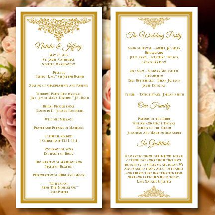 Wedding Program Template Anna Maria Gold