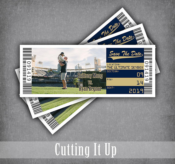 san diego padres save the date ticket baseball wedding magnet