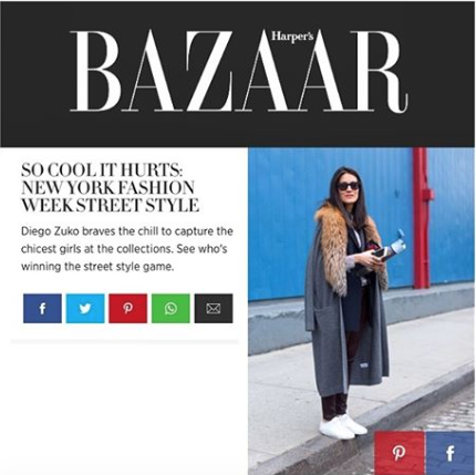 Thank you Harpers Bazaar US for including me | Now heading to Paris Fashion Week | #YYStreetStyle #YYPress
