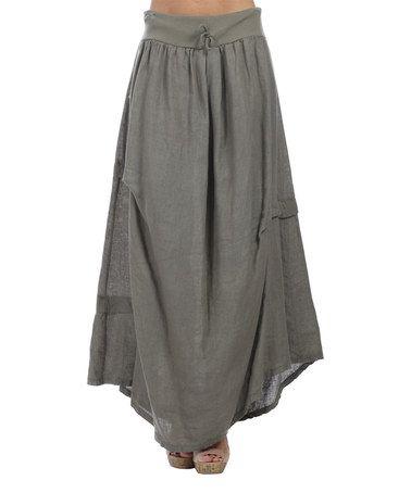 Look at this #zulilyfind! Khaki Linen Maxi Skirt - Plus Too #zulilyfinds