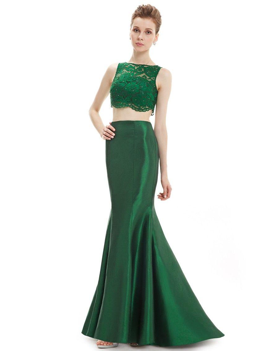 Elegantes Zweiteliges Abendkleid in Grün | Zweiteiler ...