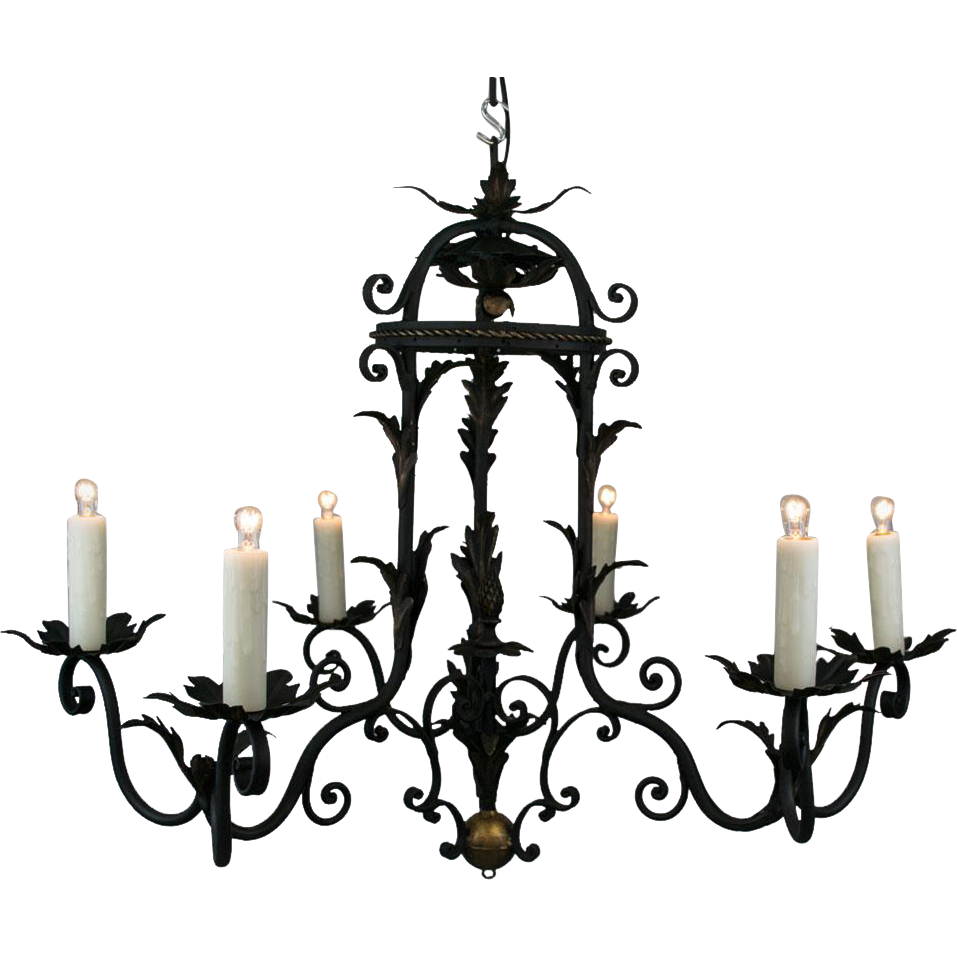 1930s french six light black iron chandelier with acanthus tole 1930s french six light black iron chandelier with acanthus tole foliate detail and gold highlights aloadofball Images