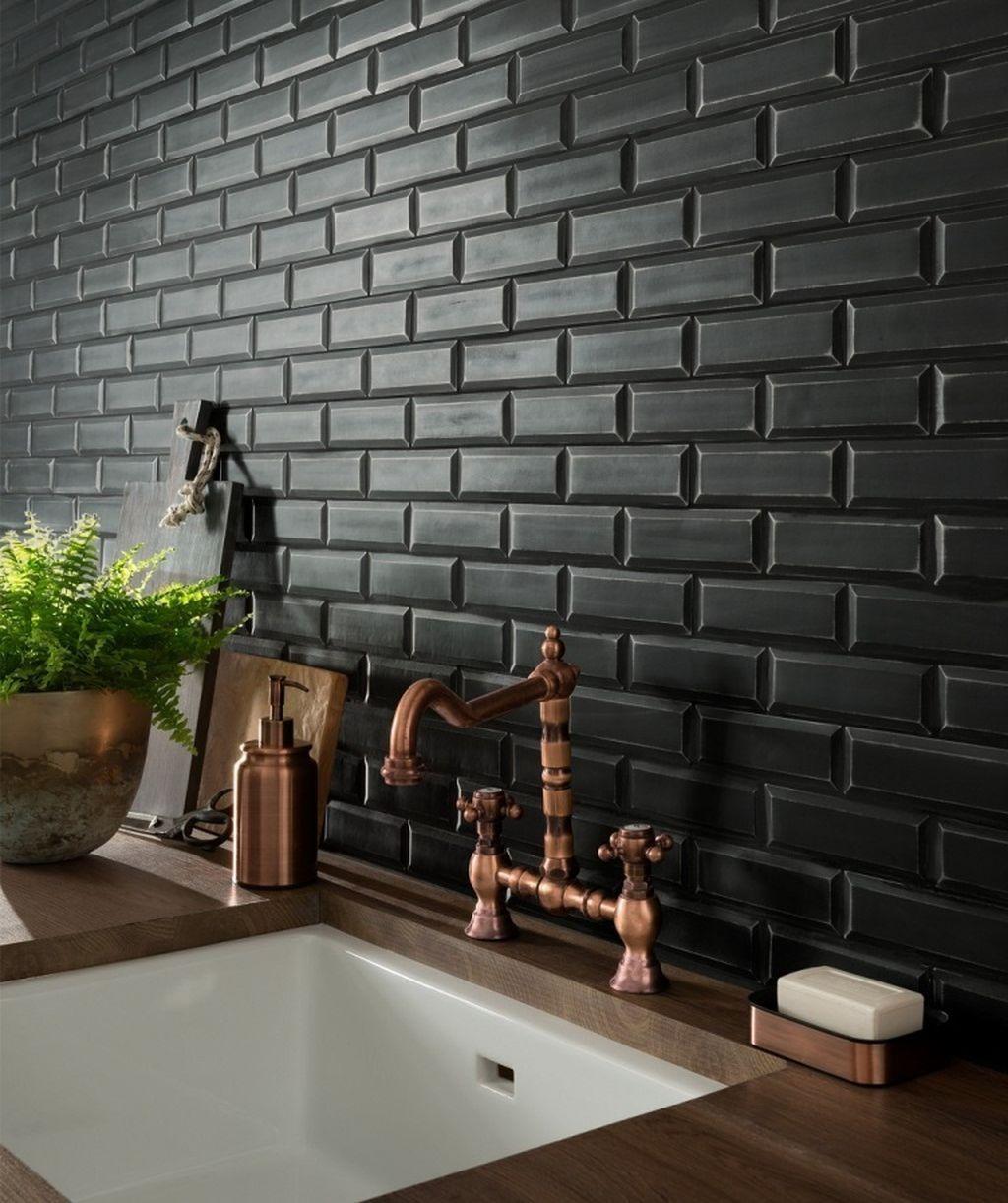 Cool 37 Awesome Kitchen Design Ideas For 2019 Kitchen Design Trends Kitchen Wall Tiles Design Black Tiles Kitchen
